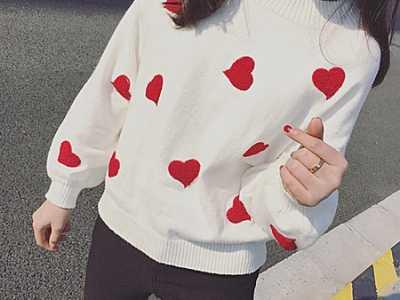 灯笼袖宽松短款套头毛衣手工编织 甜美百搭爱心刺绣灯笼袖套头针织短款毛衣